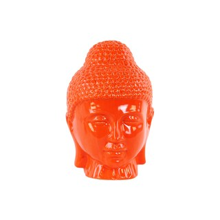 Ceramic Gloss Finish Orange Buddha Head with Rounded Ushnisha