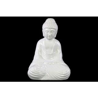 Ceramic Gloss Finish White Meditating Buddha Figurine with Rounded Ushnisha in Dhyana Mudra