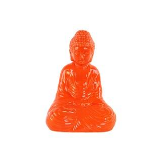 Ceramic Gloss Finish Orange Meditating Buddha Figurine with Rounded Ushnisha in Dhyana Mudra