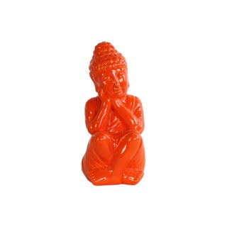 Ceramic Gloss Finish Orange Sitting Buddha Figurine with Rounded Ushnisha and Head on Hands