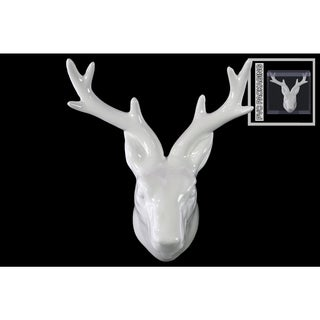 Ceramic Deer Head Wall Decor Gloss FInish White