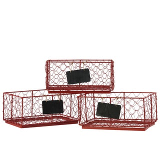 Metal Coated Red Mesh Sides Rectangular Wire Basket with Name Tags (Set of 3)