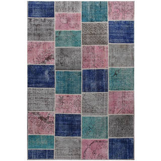 ABC Accent Vintage Patchwork Multi Overdyed Wool Rug (6'7 x 9'11)