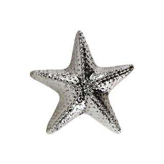 Ceramic Polished Silver Knobbed Sea Star Figurine