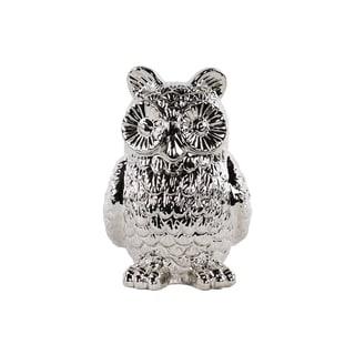 Polished Chrome Ceramic Owl Figurine