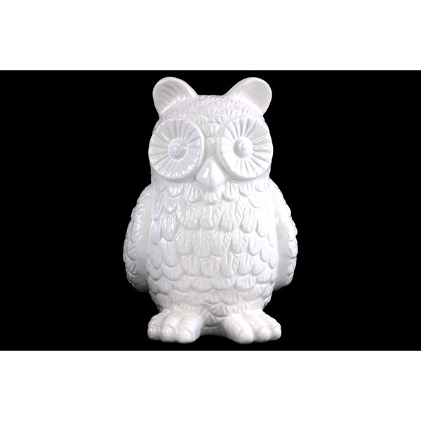 Gloss White Ceramic Owl Figurine