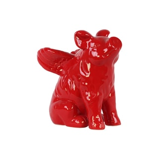 Gloss Red Ceramic Winged Pig Figurine