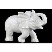 Ceramic Gloss Finish White Standing Trumpeting Elephant Figurine