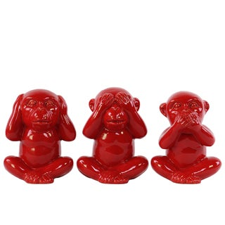 Ceramic Gloss Finish Red Monkey No Evil (Speak/Hear/See) Figurine Assortment of Three