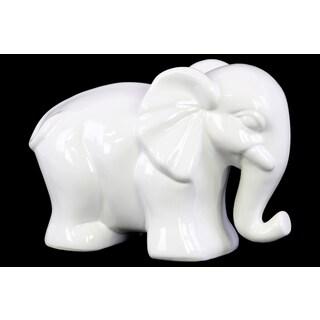 Ceramic Gloss Finish White Large Standing Elephant Figurine