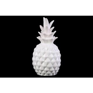 Ceramic Gloss Finish White Pineapple Figurine