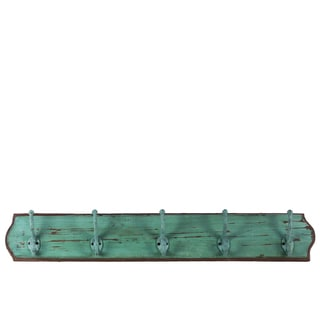 Wood Distressed Finish Turquoise Large Wall Hanger with 5 Hooks