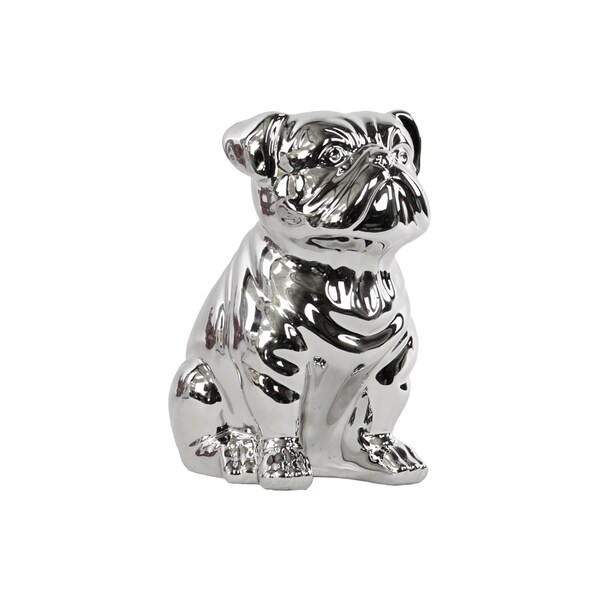 Polished Silver Chrome Finish Ceramic Sitting British Bulldog Figurine