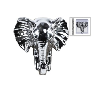 Polished Silver Chrome Finish Ceramic Elephant Head Wall Decor