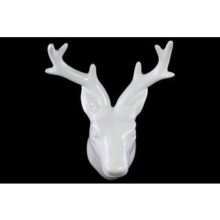 Glossy White Finish Ceramic Deer Head Wall Decor