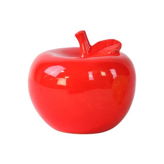 Glossy Red Finish Ceramic Apple Figurine Large