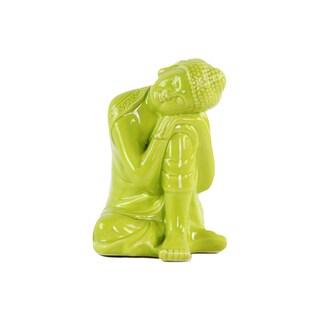 Glossy Green Finish Ceramic Sitting Buddha with Rounded Ushnisha and Head Resting on Knee Figurine