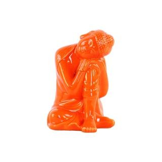 Glossy Orange Finish Ceramic Sitting Buddha with Rounded Ushnisha and Head Resting on Knee Figurine