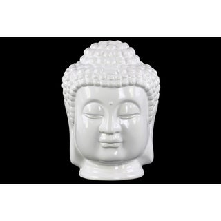 Glossy White Finish Ceramic Buddha Head with Beaded Ushnisha