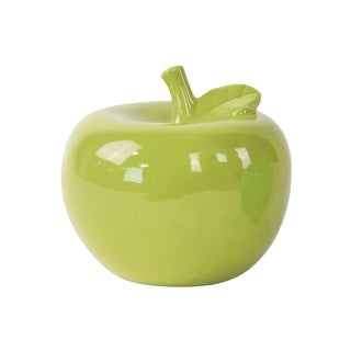 Glossy Green Finish Ceramic Apple Figurine Large