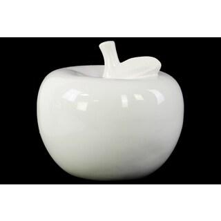 Ceramic Gloss Finish White Large Apple Figurine