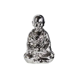 Ceramic Polished Chrome Silver Meditating Buddhist Acolyte Figurine Holding a Bowl with Candle Holder