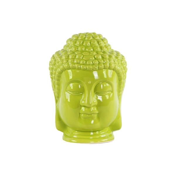 Glossy Green Finish Ceramic Buddha Head with Beaded Ushnisha