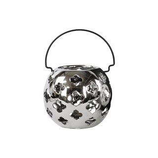 Porcelain Large Polished Chrome Silver Spherical Lantern with Cutout Design and Metal Handle