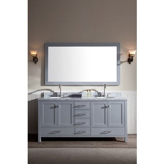 ARIEL Cambridge 73-inch Double-sink Grey Vanity Set
