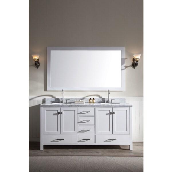 Ariel Cambridge 73 Inch Double Sink White Vanity Set