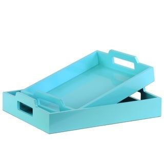 UTC40222: Wood Rectangular Serving Tray with Cutout Handles Set of Two Coated Finish Light Blue