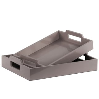 UTC40221: Wood Rectangular Serving Tray with Cutout Handles Set of Two Coated Finish Gray