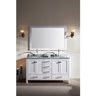 ARIEL Cambridge 61-inch Double-sink White Vanity Set