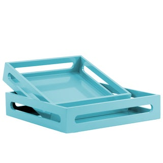 Wood Square Coated Light Blue Finished Serving Tray with Cutout Handles (Set of 2)