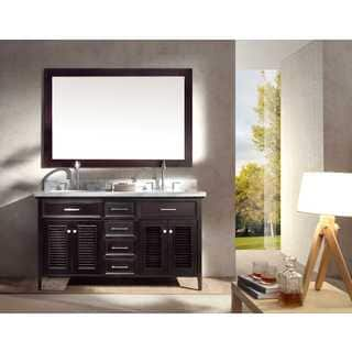 ARIEL Kensington 61-inch Double-sink Espresso Vanity Set