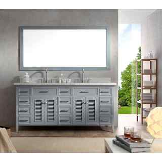 ARIEL Kensington 73-inch Double Sink Grey Vanity Set