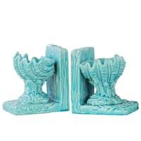 UTC40095-AST: Ceramic Open Valve Clam Seashell on Base Bookend Assortment of Two Gloss Finish Blue
