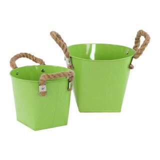 Green 2-piece Zinc Bucket with Rope Handles