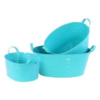 Light Blue 3-piece Zinc Oval Bucket with Handles