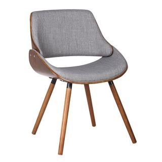 Walnut Plywood and Grey Fabric Dining Mid-century Style Chair with Solid Wood Legs