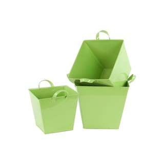 Yellow Green Coated Finish Zinc Tapered Bottom Square Buckets (Set of 3)