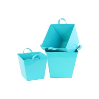 Light Blue 3-piece Zinc Square Bucket with Handles