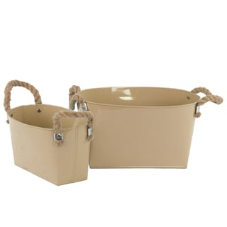 Mocha Brown 2-piece Zinc Oval Bucket with Rope Handles
