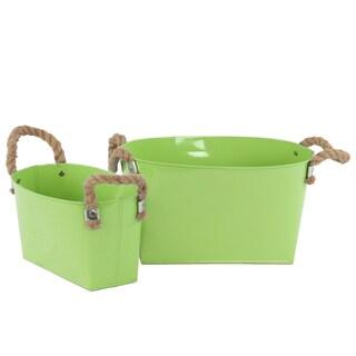 Green 2-piece Zinc Oval Bucket with Rope Handles