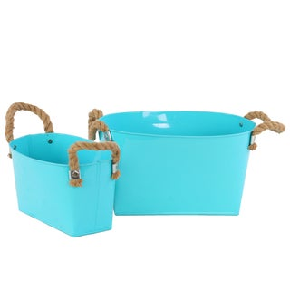 Light Blue 2-piece Zinc Oval Bucket with Rope Handles