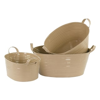 Mocha Brown 3-piece Zinc Oval Bucket with Rope Handles