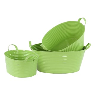 Green Zinc 3-piece Oval Bucket with Handles