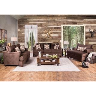Furniture of America Nisha III Modern 3-piece Chocolate Premium Fabric Sofa Set