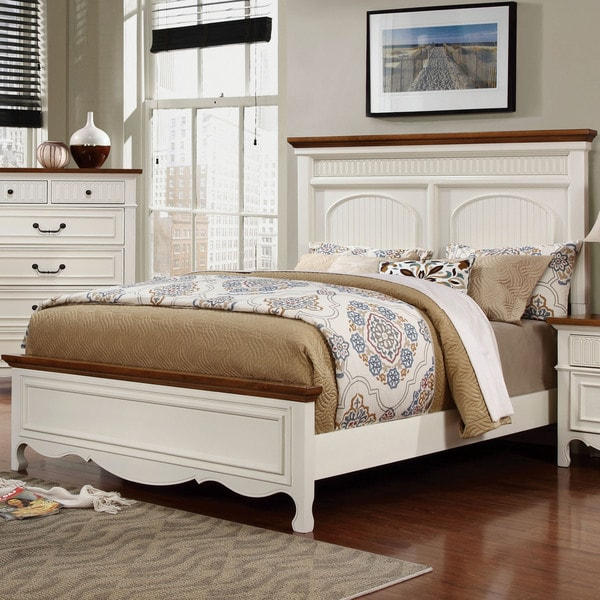Ophelie Transitional Cottage White Panel Bed by FOA
