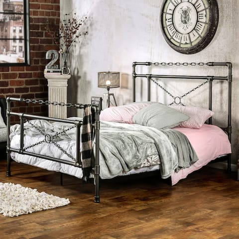 Furniture of America Noso Industrial Metal Chain Panel Bed